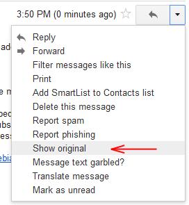 Gmail: In menu you need to choose Show original