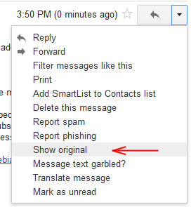 Gmail: In menu you need to choose Show original