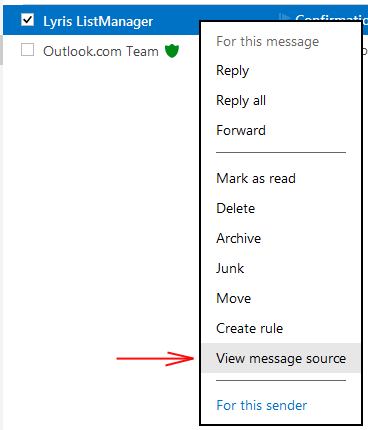 Outlook: click View message source for email headers